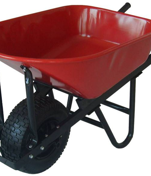 Red Steel Tray Wheel Barrow