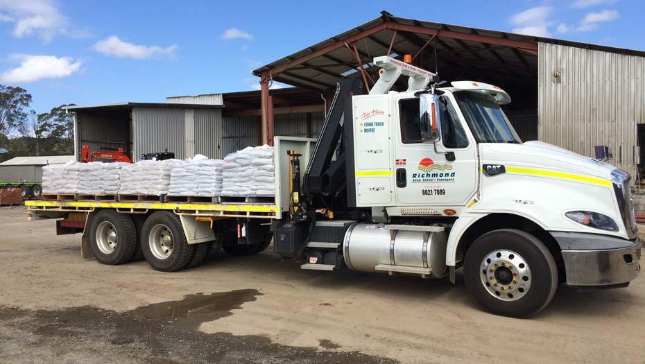 Hiab truck hire Richmond Sand Gravel and Landscaping Ballina & Lismore