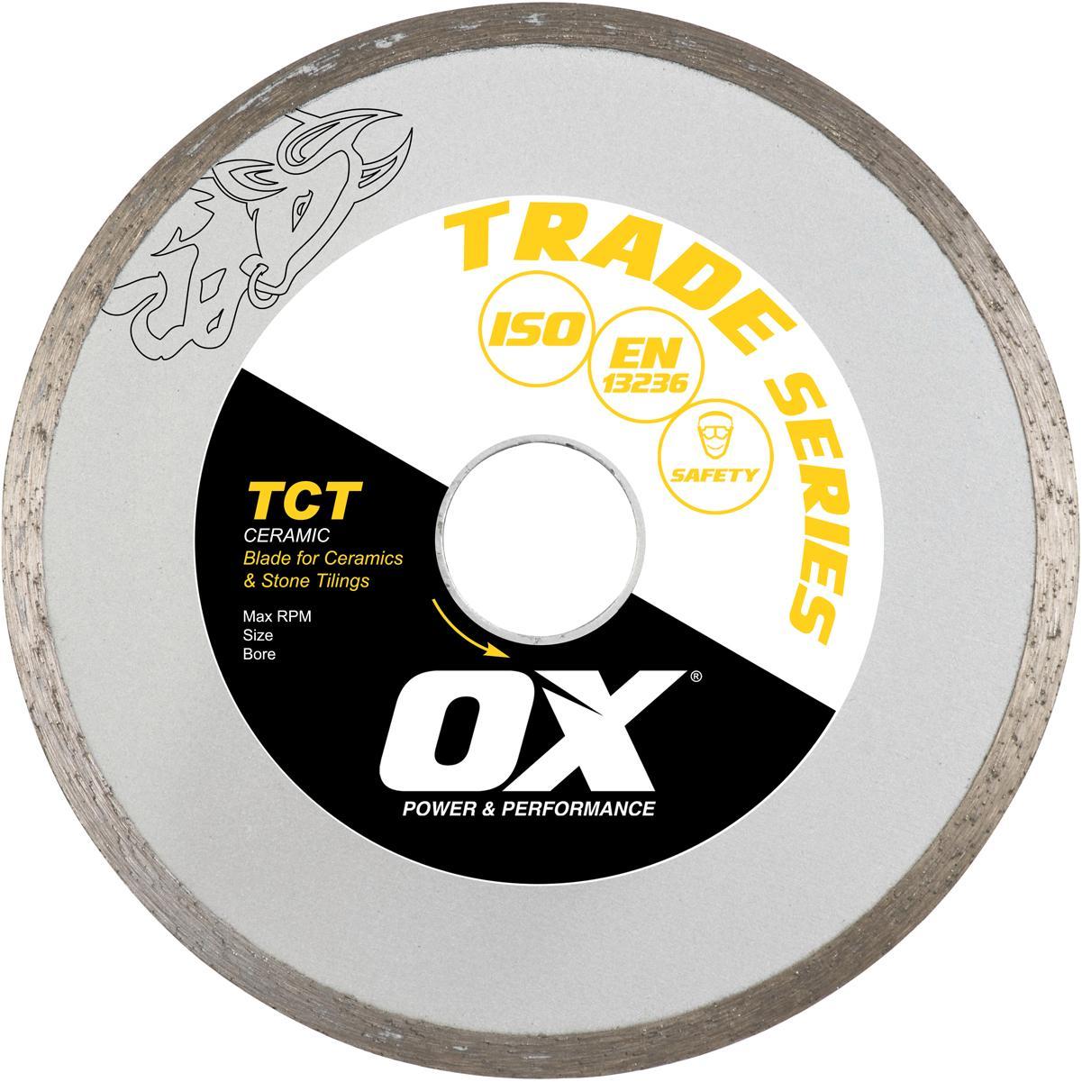 "Trade TCT 9"" Continuous Rim Diamond Blade - Ceramics by Ox"