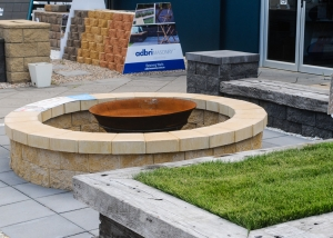 Fire Pit with Adbri Courtyard York surround