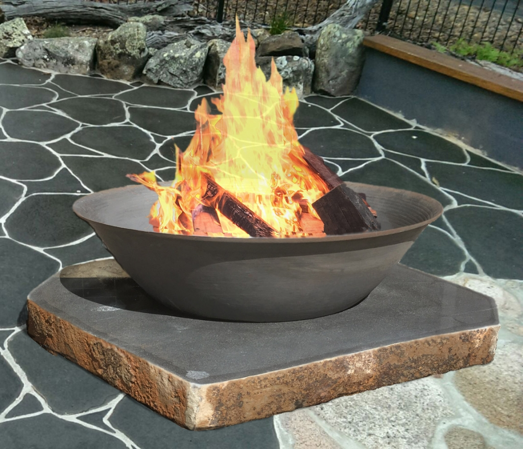 Premium Fire pit on basalt slab