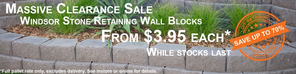 Windsor Stone Retaining Wall Blocks Massive Clearance Sale - From $3.95 each. Conditions Apply.